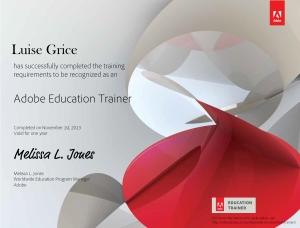 Adobe Education Trainer certificate Luise Grice