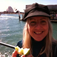 eating an apple on Sydney harbour