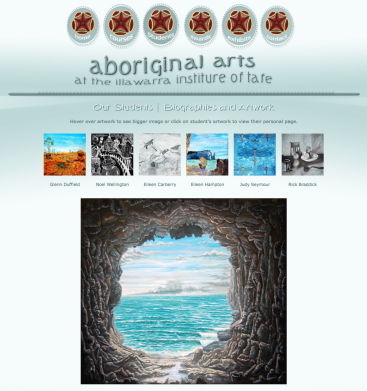 Mockup for TAFE Aboriginal Arts Website - Content and Design by Luise Grice ^